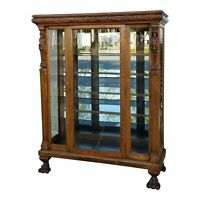 Vintage R.J. Horner French Country Oak Carved Curio Display Cabinet Claw