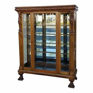Vintage Curio Display Cabinet Tiger Oak Quarter Sawn French Country Carved Claw