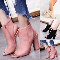 Womens Mid Block Heel Peep Toe Open Ladies Zipper Ankle Boots Back Shoes Fashion
