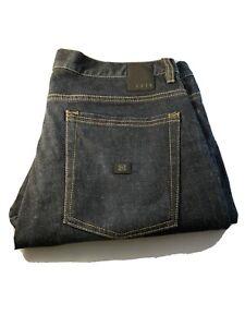 Krew Kr3w 34X33 Klassic Jeans Denim Button Fly Straight Leg Mid Rise Dark Wash