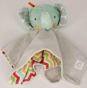 Boppy Elephant Lovey Baby Security Blanket Aqua Finger Puppet Gray Satin Back