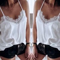 Women Casual Lace Halter Camisole Plain Strappy Vest Top Sleeveless Blouse Tank