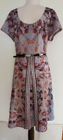 CITY CHIC  Floral Silver/Grey Stretch Knit Dress Size M
