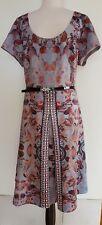 CITY CHIC  Floral Silver/Grey Stretch Knit Dress Size M