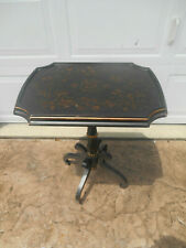 The Bombay Company Side Accent Table Hand Painted Accents Crackle Finish Top