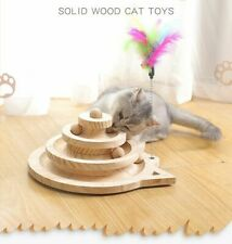 Cat Toy Interactive Ball With Catnip Pet Kitten Tower Teaser Play Tracks Wooden