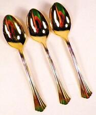 3 Golden Flair Teaspoons International Stainless Gold Electroplate 18-8 Nice