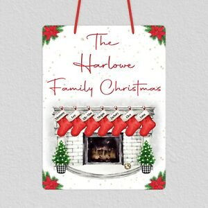 Personalised Family Christmas Hanging Plaque with 7 Personalised Stockings