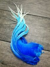 Feather hair extensions blue ombre Ghost icicle multi-tone beads w/ fluff