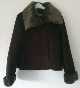 WALLIS FAUX SUEDE COAT FAUX FUR & SUEDE COLLAR & LINING BROWN UK 12 HOOK FASTEN