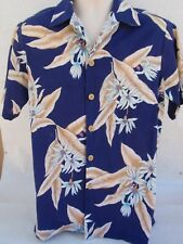 Vintage Mens Resort Line Blue Floral Hawaiian Print Button Down Shirt Leaves