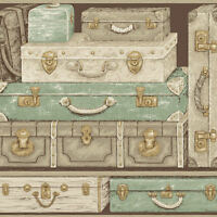 York Suitcases Travel Wallpaper In Greens, Tans, Gold GX8185  per Double Roll