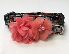 Apricot Floral Dog Collar Size XS-L by Doogie Couture