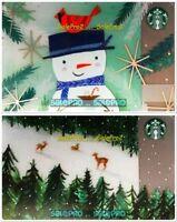 2x STARBUCKS CHRISTMAS SNOWMAN REINDEER XMAS TREE RARE COLLECTIBLE GIFT CARD LOT
