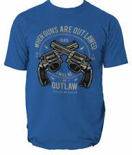 Outlaw t shirt western gun cowboy S-3XL
