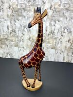 "Vintage Hand Carved Wood Wooden Giraffe Figurine  12"""