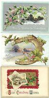 (3) Antique Post Card c. 1911 1912 1913 Christmas Greetings XMAS