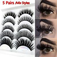 5 Pairs 3D Mink Hair False Eyelashes Wispy Cross Long Lashes Makeup Soft Hair`