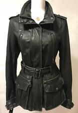 Burberry Brit Damen Bikerjacke Leder Jacke Vintage Stil Mantel Gr. 40 Schwarz