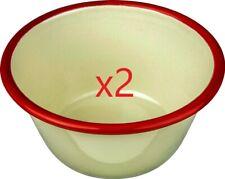 2 x Nimbus Enamel Pudding Basin 12cm  Cream Red Trim - Camping /Home [0050]