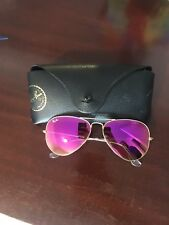 100% AUTHENTIC RAY BAN Pink Reflective Aviator Sunglasses