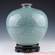 Flawless China Jingdezhen Antique crackle Celadon Collection Pomegranate vase