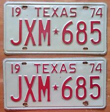 Texas 1974 License Plate PAIR - HIGH QUALITY # JXM-685