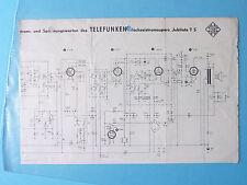 Service Schema für Telefunken  Jubilate 7 ,ORIGINAL