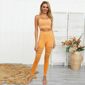 Women Yoga Set Quick Dry Fitness Sexy Top Athletic Power Legging Sportswear Suit