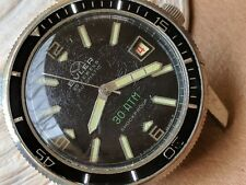 Vintage Buler 30 ATM Divers Watch w/Glossy Black Dial,Warm Patina,Large Case
