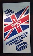 Vintage THE WHO Madison Square Garden 1979 Cloth NYC Promo Radio Station Sticker