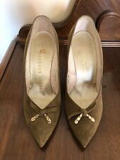 Vintage 50s Green Suede High Heels Herbert Levine Leather Soles