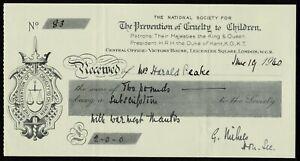 UK 1940 The Prevention Of Cruelty to Children. Receipt.