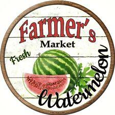 "Farmers Market Watermelon 12"" Round Metal Kitchen Sign Novelty Retro Home Decor"