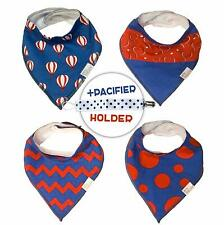 Bandanna Baby Bibs (4-Pack) - Adjustable + 1 Free Pacifier Clip | Unisex