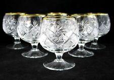 Set of 6 Russian 24K Gold Trim Snifter Glasses 10 oz - Soviet Cut Crystal Goblet