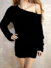 NWT bebe black wide neck fuzzy long sleeve sweater tunic top L large sexy
