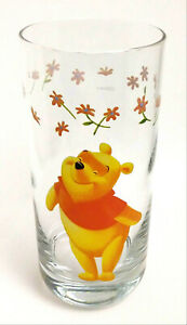 Disney Winnie The Pooh Glass Tumbler Winnie & Flowers Rounded Base Cup 16 oz