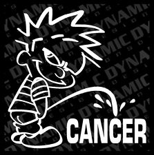 "Large 6"" Calvin pee piss on Cancer sticker funny JDM vinyl window decal"