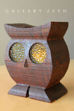 RARE! VTG MID CENTURY MODERN WOOD OWL SCULPTURE! 60'S CANDLE HOLDER LAMP SCONCE