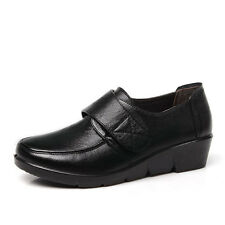 Women's Leather Black Slip-on Small Wedge Strip Hospitality Nurse/Working Shoe