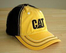 CAT Caterpillar Yellow Black Cat hat cap with Vintage Logo and M/L Tek-Flex fit