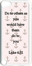 Pink and Brown Anchor with Luke 6:31 on iPod Touch 5th Gen 5G White TPU Case