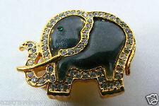 Gold Tone Metal Crystal Rhinestones Elephant Pin Brooch