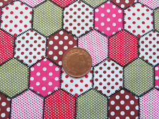 PINK SPOTTY HEXAGONAL PATCHWORK DESIGN- 100% COTTON FABRIC FQ'S