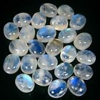 WHOLESALE LOT 25 PCS NATURAL RAINBOW MOONSTONE 6X8 MM OVAL GEMSTONES CABOCHON