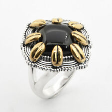 Barse Jewelry Silver Plated, Bronze and Onyx Ring
