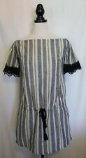 LITTLE JOE WOMAN ~ Grey & Ivory Striped Cotton Boho Shift Dress w Lace Trim L
