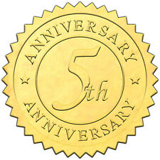 """Elegant GOLD embossed foil anniversry seals """"5th ANNIVERSARY"""" - 50 pack"""