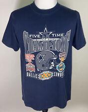 Vintage Dallas Cowboys 5 Times Super Bowl T Shirt 1995 Men's L USA Football NFL